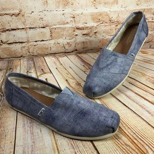 TOMS Blue White Stripe Canvas Ballet Flats Loafers